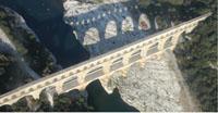 Vue aérienne du Pont du Gard au franchissement du Gardon