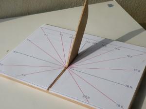 A partir du gnomon, on construit des cadrans solaire. Ci-dessus un cadran solaire horizontal adapté à la région gardoise