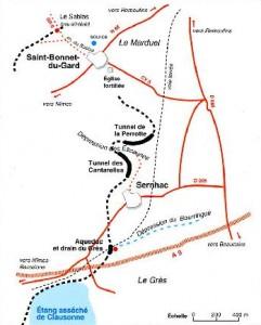 "L'aqueduc de Saint-Bonnet à Sernhac. Dessin de Nouvelles Presses du Languedoc. ""L'aqueduc du pont du Gard"", V. Larnac et F. Garrigue- 1999"