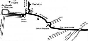 """Castellum à Nîmes Plan de situation- Document N.P.L. """"L'aqueduc du pont du Gard"""""""