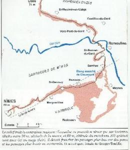 """Tracé de l'aqueduc. Carte établie par G. Tendille pour illustrer l'ouvrage """"L'aqueduc du pont du Gard """" C. Larnac et F. Garrigue' 1999"""