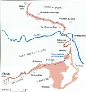 Le tracé de l'aqueduc de Nîmes- Schéma établi par G. Tendille- L'aqueduc du pont du Gard, C. Larnac et F. Garrigue, p. 18