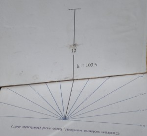 Sans être mathématicien, on peut graduer un cadran solaire vertical en joignant simplement le point en haut de la table verticale aux intersections de la parie horizontale. (Collection C.L.)