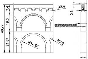 Dessin établi par C. Larnac des arches majeures du pont du Gard d'après les données d'Alfred Léger (1875) reprises par Emile Espérendieu (1926)